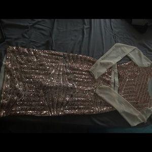 2 piece sequins skirt set